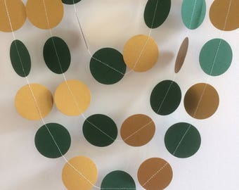 Green and Gold Shimmery Circle Garland, Party Decorations, Celebrations