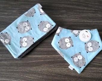 Towels owls and bandana bib gift set