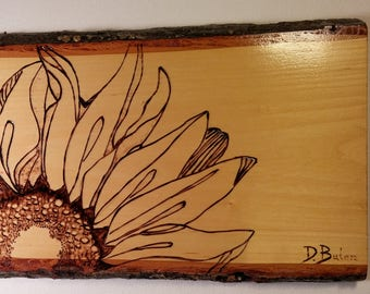 Sunflower Pyrography