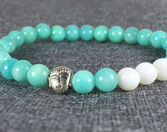 Mint Aqua Quartz bead bracelet with Buda charm