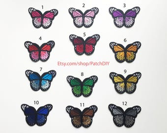 "Patch BUTTERFLY 12 colors available 3"" x 1.5"" Iron on applique romantic fashion colorful green orange red bleu brown burgundy yellow purple"