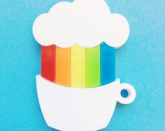 Rainbow in a teacup brooch lasercut acrylic