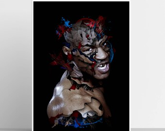 Mike Tyson Print / Boxing Art / Sports Print / Archival Artwork / Boxing Poster / Iron Mike Poster / Brooklyn / Evander Holyfield