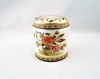 Small Vintage 1970s Decorative Tin Made in England Floral Design by Duher 4""