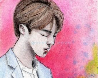Jin - Original Mixed Media Painting Illustration, Watercolor, Chalk Pastel, Ink, Colored Pencil, 5.5 x 8.5