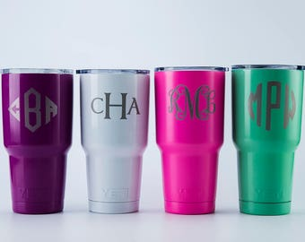 Y Yeti Cup Groomsmen gift idea bridesmaid gift Yeti Decal For Women Yeti Monogram Decal For Yeti Powder Coated Yeti Custom Yeti Glitter Yeti