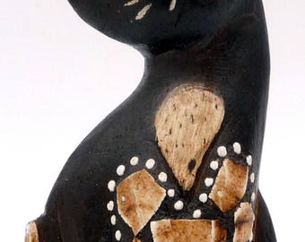 Statuette, figurine chat en bois sculpté et peint, chat de collection, chat Vintage