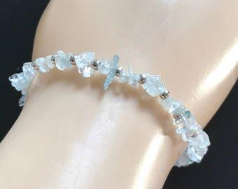 Aquamarine Bracelet, March Birthstone Bracelet, Blue Gemstone Bracelet, Stretchy Bracelet March Birthstone Jewellery
