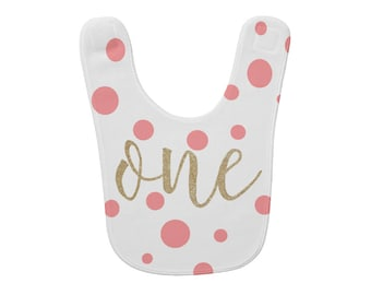 Personalized baby 1st birthday bib Cute infant Bib 1st Birthday Gift Baby drool bib Cake Smash Personalized name on bib One with pink Custom