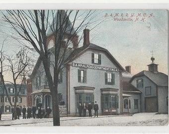 Antique Vintage Postcard A48 B & M RR Depot Woodsville NH YMCA New Hampshire
