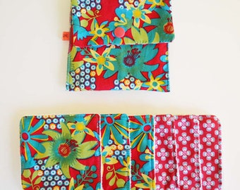 """Wipes cleansing washable tencel micro-eponge cover + organic """"flowers red, green and turquoise"""""""