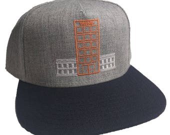 TRUMP House Embroidered 5 Panel Heather Grey Navy Blue Cap