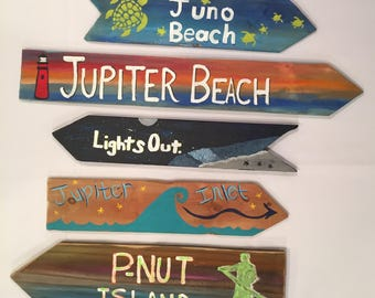 Any custom set of 5 signs, Beach Sign, Directional sign, Custom mileage sign, destination signs, mile marker sign, Coastal Decor