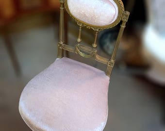 Vintage Early 1900's Parlor Chair in Pink Velvet