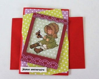 for girl A4 red hand made double birthday card