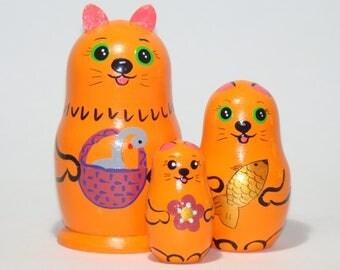 Nesting dolls, Red-headed cats, nesting dolls for kids, kids gift animal toy, a set of 3 pcs wooden matryoshka
