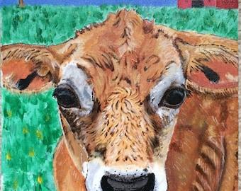 Jersey calf original acrylic painting