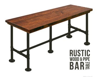 "Bar Table (42""H) Industrial Pub Table, Bistro Table, Chic Table, Industrial Chic Style, Rustic Wood and Pipe Bar Table Urban Wood Bar Table"