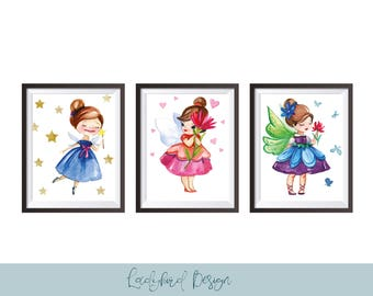 Watercolour Fairy printables, Fairy prints, Girls Fairy gift, Nursery wall art, Nursery print, Fairy themed nursery accessories,