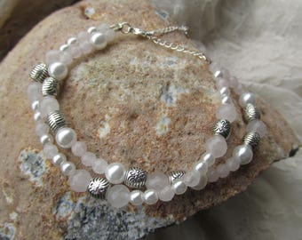 Rose quartz and glass pearl double bracelet
