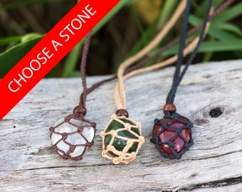 Crystal Pouch Necklace - Interchangeable Macrame Pouches with Gem Stone