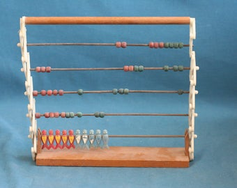 vintage Wood calculator toy game With fish figures 1960's