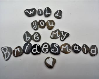 will you be my Bridesmaid beach pebble gift in a box