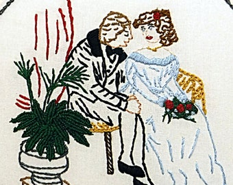"Courting Couple Embroidery - British Historic Image - Hand Stitched 8"" Embroidery Hoop Art - Hand Embroidered Fiber Art - Couple on Date"