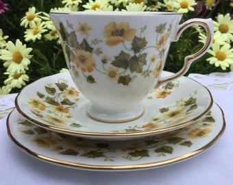 Queen Anne, English fine bone vintage china teacup, saucer and sideplate trio