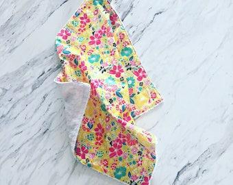 Floral Minky Lovey Blanket | Girl Baby Gift | Cuddle Blanket | Floral Baby Blanket | Doll Blanket | Security Blanket | Baby Blanket |
