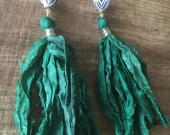 Emerald tribal tassel earrings