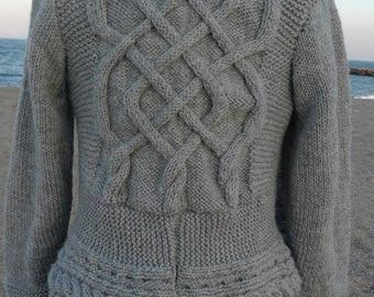 Hand knit gray wool vest