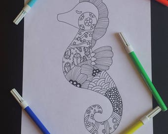 Art therapy patchwork seahorse