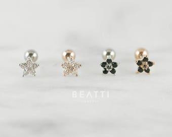 Sparkly flower cartilage earring/ Piercing/ Tragus stud/CZ piercing/CZ Stud/Helix/conch