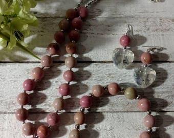NEW Handmade Jewelry Set. light Mauve/Tan