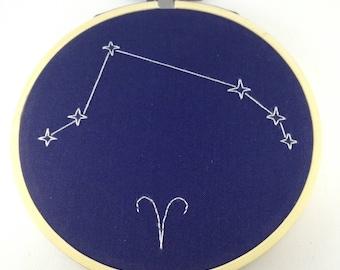 "Aries 4"" zodiac embroidery"