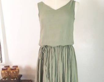 Vintage Gauzy Smocked Sage V-Neck Market Dress with drawstring waist