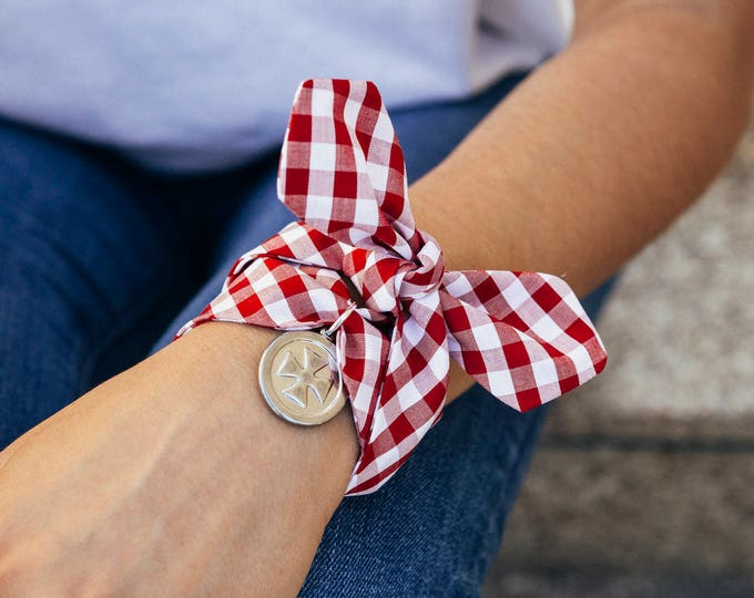 Red Vichy pattern + Malta Cross charm