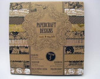 Kraft paper 5 - design pad - 3x10 assorted designs - 30 sheets - black - gold - silver