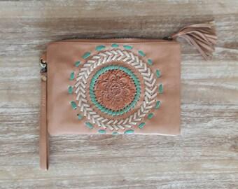 Woman Leather Wallet, bohemian leather wallet, tan leather wallet, leather clutch, organizer wallet, mandala leather clutch