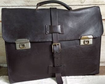 Vintage Dark Brown Leather Briefcase Handcrafted in Spain,  Attache, Portfolio