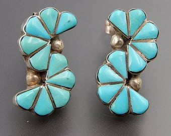 Vintage Zuni sterling silver turquoise inlay s-shaped post earrings