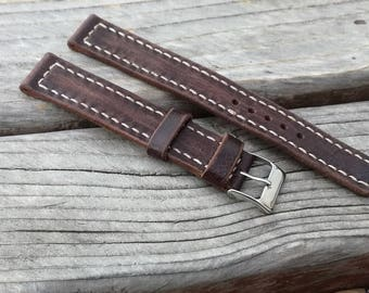 Brown Leather watch strap 18 mm Military style, leather watch bands, watch band 18 mm, watches