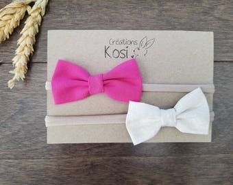 Duo of headbands, pink, white, baby girl, bow tie, new born, nylon, headband, hair headbands, baby headband pink white