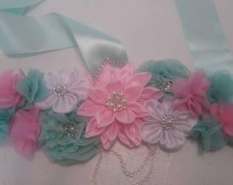 Pink and mint Maternity sash belt, babyshower belt . flower belt