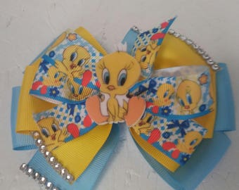 Tweety bird hair bow