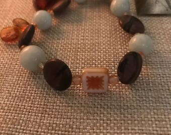 Serenity , calmimg , soothing , strength , energy - aquamarine ,- cappuccino jasper - white square czech flower , 2 silver square czech