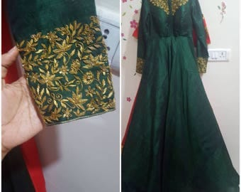 Royal Green gown party wear