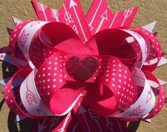 Valentine Bow - Hot Pink Heart