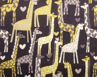 Michael Miller Fabrics Giraffe Love CX5177-Gray-D        -- 3/4 yard remnant